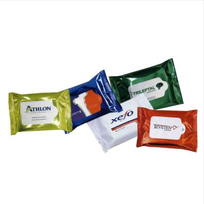 personalised wet wipes multi flow pack printed with logo