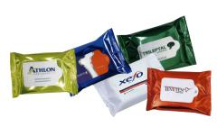 promotional printed wet wipes with logo in multi flow-pack